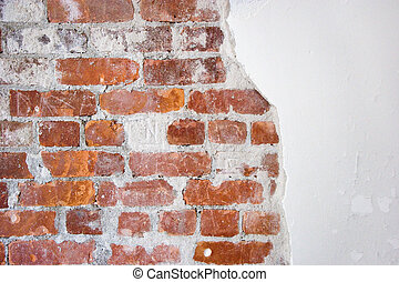 brick and plaster - old brick and plaster wall