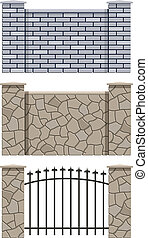 brick and stone fence set of vector illustration EPS10. ...