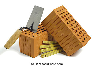 brick and tools for house building