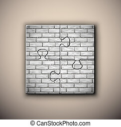 Brick background on puzzle