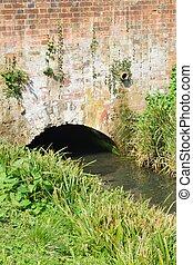 Brick bridge across small stream