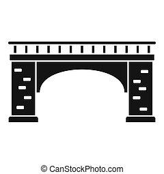 Brick bridge icon, simple style
