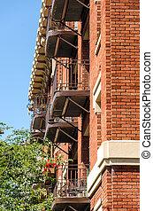 Brick Building and Balconies