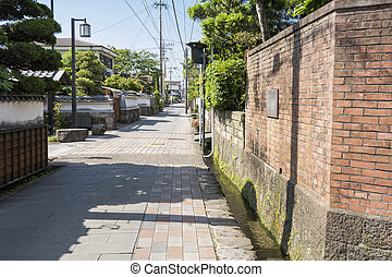 Brick building and stone pavement road in Shimabara,...