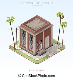 Brick building factory in isometric. Vector illustration