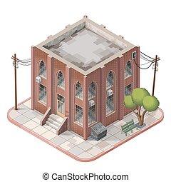 Brick building isometric