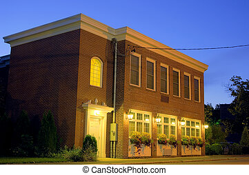 Brick building, night HDR