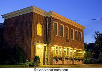 Brick building, night HDR