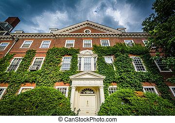 Brick buildings at Harvard University, in Cambridge, Massachusetts.