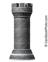 A castle chess piece made of brick and mortar on an isolated background