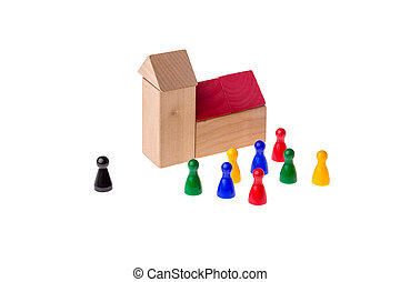 Brick church with different game pawns around it