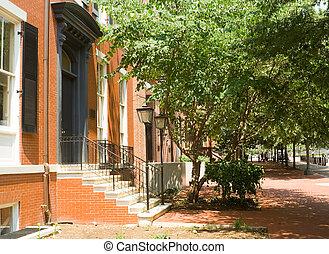 Brick Colonial Row Homes Street Sidewalk DC USA