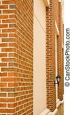 Brick Columns and Lamp