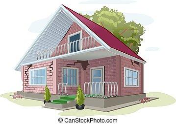 Brick cottage with cracks on walls. Red brick house error ...