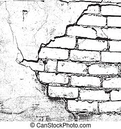 Brick wall overlay texture, with cracked plaster - for your design. Empty grunge design element. EPS10 vector.