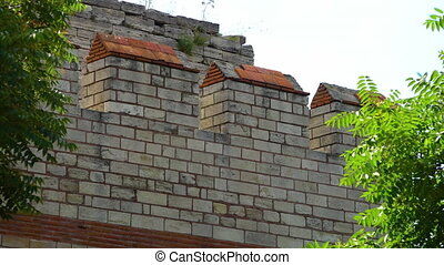 Brick detail of the Theodosian Walls of Constantinople -...