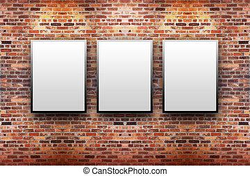 Brick Display Art Gallery with Frames - Three blank, white...