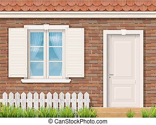 Brick facade with a white window and a door