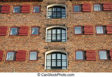 Brick fasade - The brick fasade of old house in Copenhagen, ...