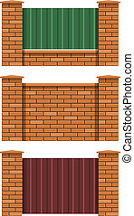brick fence set of vector illustration EPS10. Transparent objects and opacity masks used for shadows and lights drawing