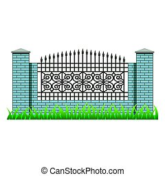 Brick fence wall with pillars and decorative grille for landscape scene design