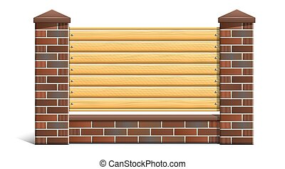 Brick fence with wooden boards. Foreground, object isolated on white background.
