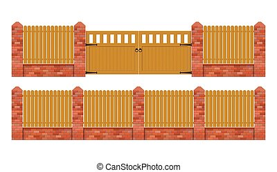 Brick fence with wooden gate vector illustration isolated on white background
