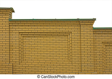 Brick Fence Yellow Color With A Copper Canopy, Isolated On.