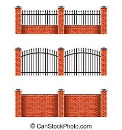 Brick fences set isolated on white vector