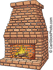 Brick fire place - Cartoon brick fireplace. Vector clip art...