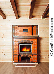 brick fireplace in wooden house
