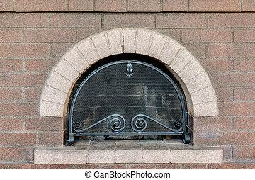 brick fireplace with a lattice
