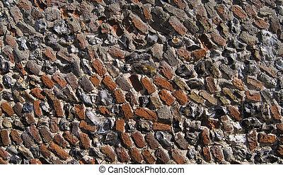 Brick flint mortar background