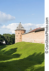 brick fortress wall with tower of the Novgorod Kremlin