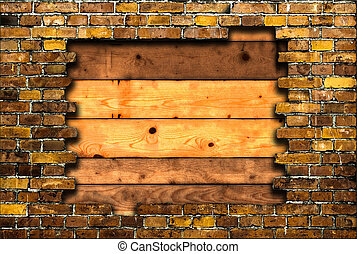 brick frame with background of plan