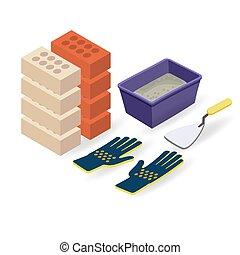 Brick, gloves, spatula, mortar. Isometric construction tools.