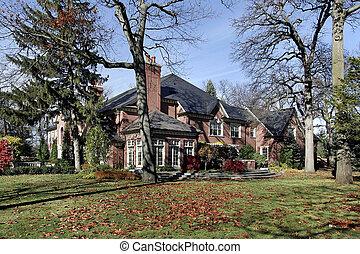 Brick home in autumn