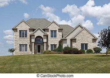 Brick home in rural neighborhood