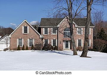 Brick home in winter