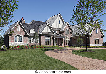 Brick home with covered entry - Large brick home with...