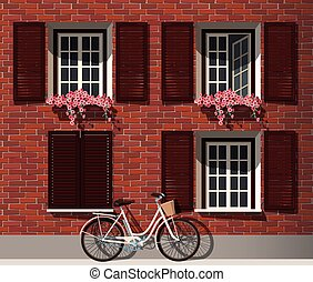 Brick house and bicycle