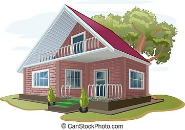 White Brick House Country Cottage Tree Flower Beds Vector