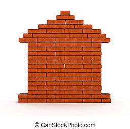 Brick house. Illustration.