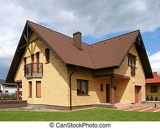 Brick house - New brick wall house in Poland, Europe