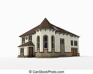 Brick house on white background