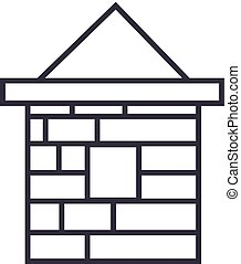 brick house  vector line icon, sign, illustration on background, editable strokes