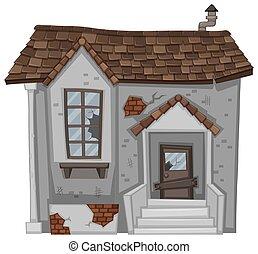 Brick house with broken door and window