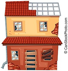 Brick house with broken roof and windows