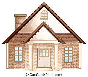 Brick house with brown roof