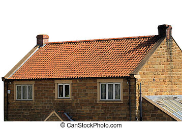 Brick house with red roof tiles